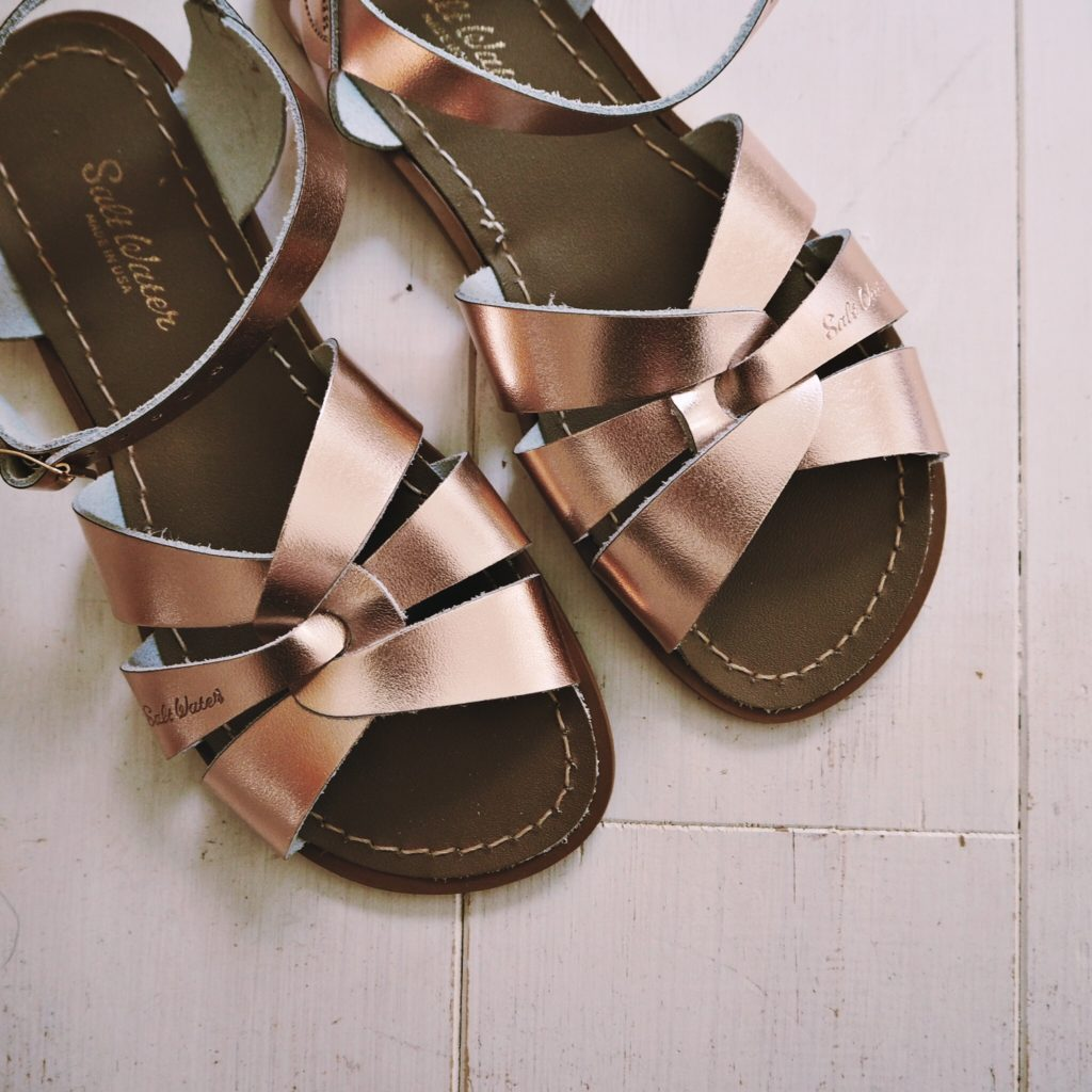 SaltWater Rose Gold Sandals
