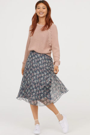 Pleated skirt – grey blue floral